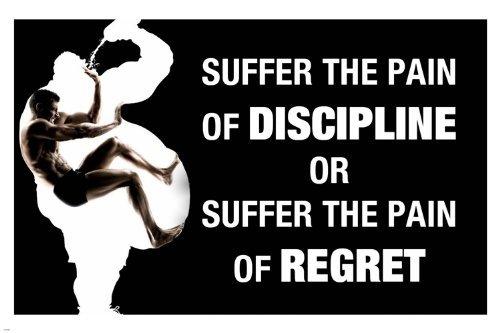 Schmerzen Disziplin Zitat Motivational Poster 24x 36Work Out Inspirierende (Motivational Poster 24x36)