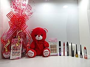 Glory Cosmetics Limited Edition - Cesta de maquillaje y oso de peluche rojo, 9 piezas