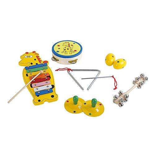 Musik-Set aus lackiertem Holz mit Metallelementen, sechs bunte Musikspielzeuge mit lustigem Giraffen- und Sternmuster, für kleine Musikanten ab 3 Jahren