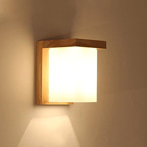 LED Holzwand Lampen, moderne minimalistische Glas Massivholz Mini Wand Hängeleuchte Nordic Wohnzimmer Studie Esszimmer Wandleuchte kreative Schlafzimmer Flur Nacht kleine Wandleuchte