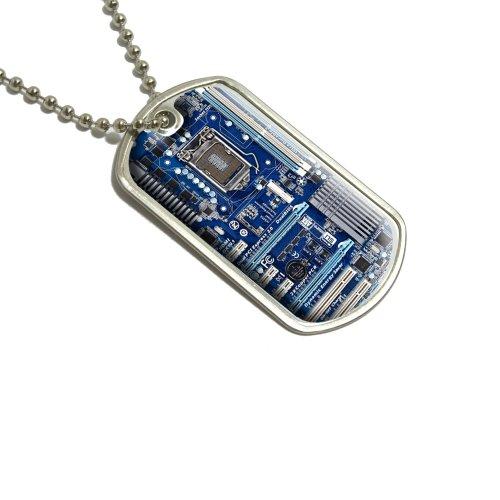 Preisvergleich Produktbild Blau Computer Motherboard–Prozessor CPU MEMORY Militärische Erkennungsmarke Gepäck Schlüsselanhänger