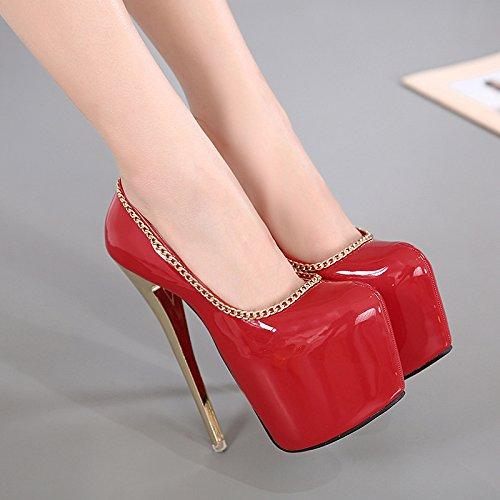 LvYuan-mxx Femmes chaussures à talons hauts / printemps été / imperméable plateforme peu profonde chaussures princesse bouche / Nightclub sexy / Bureau et carrière Robe de banquet / talon aiguille / s RED-US55EU36UK35CN35