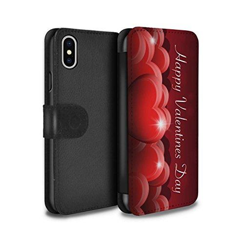 Stuff4 Coque/Etui/Housse Cuir PU Case/Cover pour Apple iPhone X/10 / Coeur D'Amour Rouge Design / Coeur Valentine Collection Coeurs Rouges