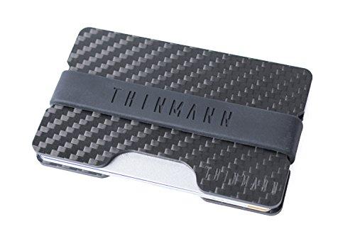 Thinmann Carbon Wallet mit RFID & NFC Schutz | Minimalistisches Portemonnaie mit Geldklammer | Premium Brieftasche | Kreditkartenetui | Individualisierbar mit vier verschiedenen Bändern