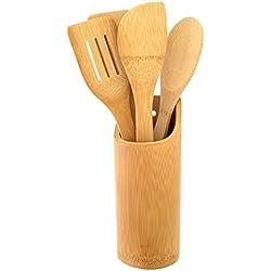 Top Home Solutions 5piezas, madera de bambú Set Utensilios de cocina Herramientas Espátula Cuchara Espátula