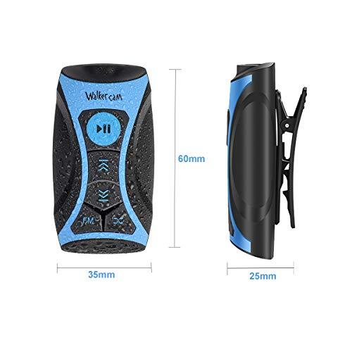 Walkercam S1 100% wasserdichter Stream MP3-Player mit UKW-Radio und Unterwasserkopfhörer für Schwimmrunden, Wassersport, kurzes Kabel, 8 GB