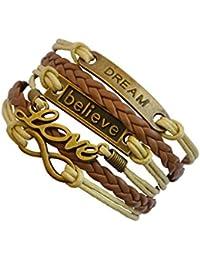 CargoMix® Vintage Damen Leder Bronze Anker Dream/ LOVE /Believe/ Armband Lederarmband mit Charm Anhänger Mode-Legierung Damen Schmuck