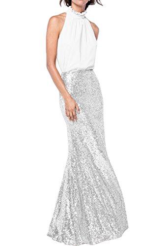 Gorgeous Bride Fashion Meerjungfrau Prom Festlich Chiffon Paillette Lang 2017 Damen Partykleider Abendkleider Lang Cocktailkleider Ballkleider Weiß