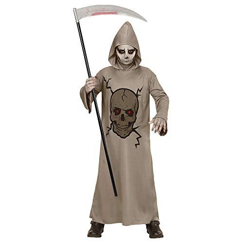 Widmann Kinderkostüm Totenkopf Meister (Grau Skelett Sensenmann Robe Für Kinder)