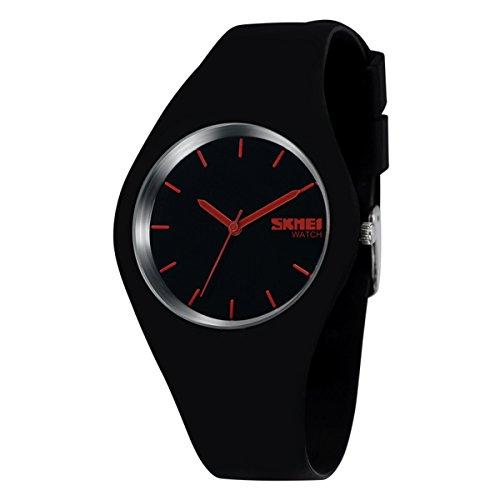 Sport Quarzuhr Mehrfarbige Silikon Uhrenarmbänder Armbanduhren Für Damen Armbanduhren Für Herren Armbanduhren Für Jungen, Unisex, Schwarz-Rot