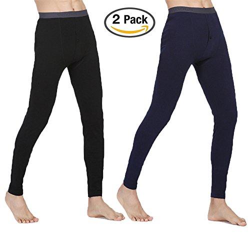 hmilydyk 2Pack Herren-Traditionelle lange Unterhose HOT Thermo Unterwäsche Hose weiche Baumwolle Light Base Layer Pants Hose Hose, Größe l-xxxl, XXL (2-layer-merino-wolle-hose)