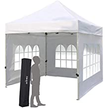 PILIN Heavy Duty 3x3m Blanco Gazebo desplegable, Cortina portátil, toldo para Exteriores, Plegable
