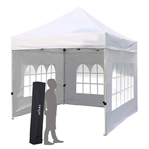 Pilin heavy duty 3x3m white pop up gazebo, tenda da sole pieghevole per esterno pieghevole all'ombra portatile con 3 pareti laterali rimovibili e borsa per il trasporto, 100% impermeabile