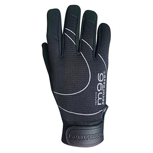 securesse m96 Montagehandschuh schwarz, 1 Paar Mechaniker Handschuhe Cat. 1, Größe 10 - Schwarze Microfaser-heels