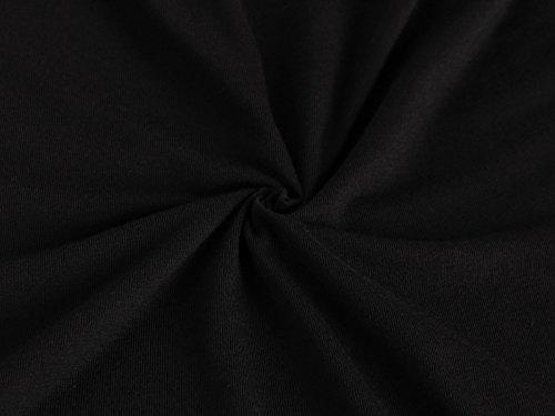 Anna Smith Frauen Rundhalsausschnitt Knopfleiste 3/4 Ärmel Solid Color Tunika Kleid Bluse Schwarz