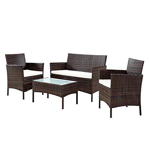 Neo 4pezzi in rattan mobili da giardino divano set di tavoli e sedie da giardino, veranda, disponibile in nero o marrone 102cm x 60cm x 82cm Brown