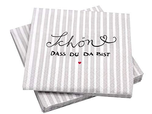 mit Spruch 'Schön DASS Du da bist' Grau Weiß 20 Stück Tischdeko Hochzeit Geburtstag Kommunion Konfirmation ()