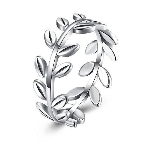 FushoP 925 Sterling Silber Olive Zweig Baum Blatt Verlobung Hochzeit Ring (Silbern) Farbe Cz Wedding Ring Sets