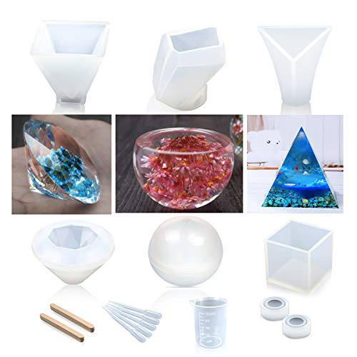 Resin Casting Molds, Vindar 8 Pack Silicone Epoxy Resin Mold for DIY, Jewelry Making and Crafting, with Measurement Cup, Sticks and Droppers (8 Pack)