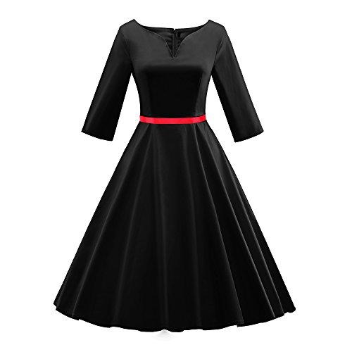 iLover 50s vintage rockabilly full circle Hepburn style V-neck Party Dress Cocktail (1940 Tanz Kostüme)