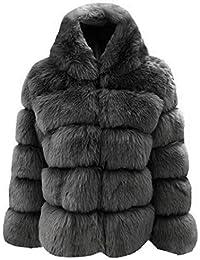 Aceshin Damen Felljacke Schwarz Mantel Winter Jacke Plüschjacke Warm Faux  Pelzmantel Outwear Kurz Coat 833f6e600c