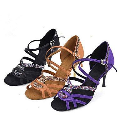 Scarpe da ballo-Personalizzabile-Da donna-Balli latino-americani Jazz Salsa Scarpe da swing-A stiletto-Raso Brillantini-Nero Viola Kaki Khaki
