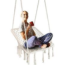 Surophy - Silla Colgante con Cuerda de algodón Tejida a Mano, Silla Hamaca Cuadrada de
