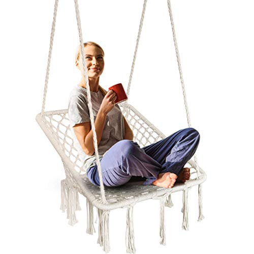 Surophy swing & sedia sospesa con fatto a mano a maglia di cotone corda, quadrato macrame amaca con nappe per interni/esterni, patio, terrazza, cortile, giardino, bar, 245kg [ue brevetto]