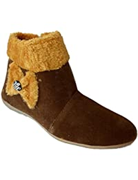Raftaar Women's Casual Shoe Long Boots Ethnic Footwear (IND-259-BROWN BOOT)