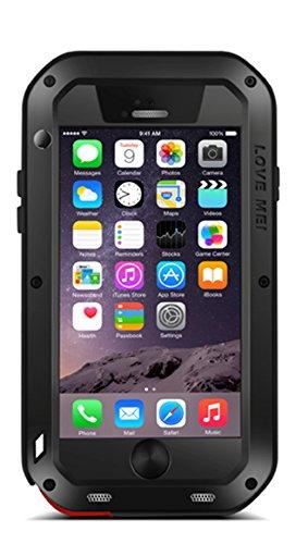 Love Mei Extrem Military Cover Hartmetall für iPhone 6 Corning Gorilla-Glas, stoßfest, staub- und wasserdicht in schwarz (Corning Gorilla 6 Iphone Glass)