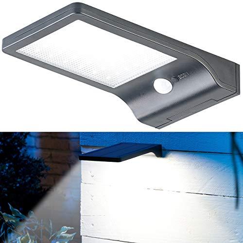 Lunartec Solarleuchte aussen: Solar-LED-Wandleuchte mit PIR-Sensor & Nachtlicht, IP44, 350 Lumen (Solar Wandleuchten Bewegungsmelder)