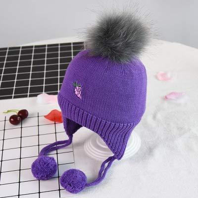 ChildHat 2018 Hut für Kinder,Baby Stricken Hut Saison Baby Haar Ball Ohrenschützer Kinder Obst Wollmütze Baby warm, Trauben lila, Einheitsgröße