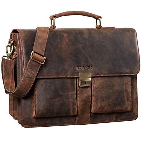 STILORD 'Eros' Aktentasche Leder 15,6 Zoll Laptoptasche Business Umhängetasche Große Arbeitstasche XL Vintage Ledertasche mit Dreifachtrenner, Farbe:Sepia - braun -