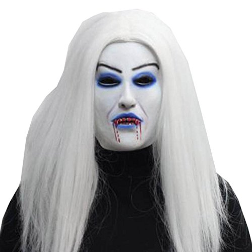Nihiug Halloween Horror Maske Latex Weißes Haar Blut Ghost Weiß Langes Haar Scary Ghost Scary Zombie Adult Party Gesicht Kostüm (Spiel Adult Kostüme Video)