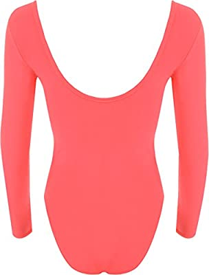 WearAll - Damen body elastisch langarm Bodysuit Top - 14 Farben - Größe 36-42 by WearAll