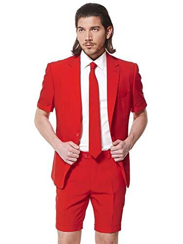 Opposuits Red Devil Anzug für Herren besteht aus Sakko, Hose und Krawatte mit Rote ()