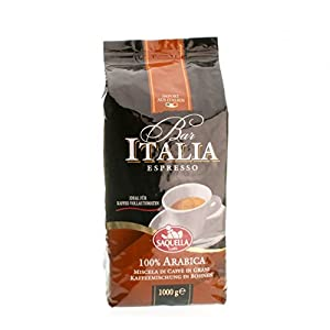 "Saquella ""Bar Italia 100% ARABICA"" Slow Roasted Gourmet Italian Espresso Coffee Beans 1 kg bag"