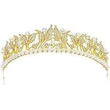 SWEETV Annata Perla Strass Tiara Corona Oro Foglia Principessa Diadema  Capelli Accessori Della Sposa bf0fb9e9b984