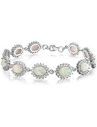 Bling Jewelry Plata Esterlina CZ Corona Teni Pulsera Ópalo Blanco 7,5 en Piedra Precioa