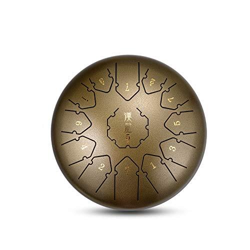 YUANZHOU Steel Tongue Drum 12 Zoll Hand Pan Drum 13 Noten Mit Schlagzeugbeutel Schlägel Lehrmaterial Fingerhülle Und Tonaufkleber,Bronze