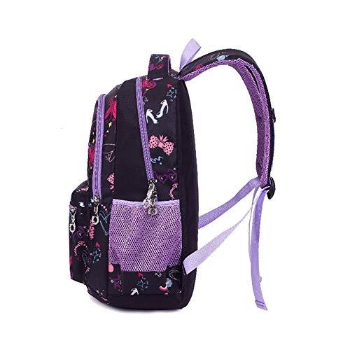 Termichy Mode Kinder Teenager Mädchen Schulrucksack Leichte Schule Tasche Blumen Floral Studenten Rucksack Lässig Daypack Reise Backpack für Schüler Outdoor Freizeit-Lila - 3