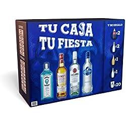 Kit Fiesta en Casa: Bacardí, Bombay Sapphire, Dewar's y Eristoff + REGALO de mixers y vasos