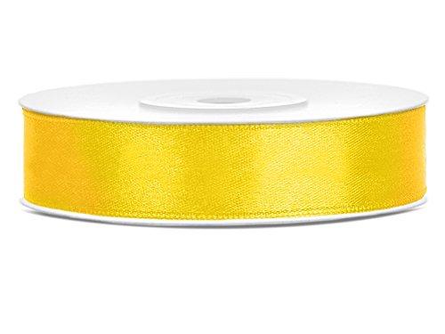 5m x 12mm viele Farben Hochzeit Dekoband Geschenkband Antennenband Schleifenband (gelb) (Gelbe Bänder)