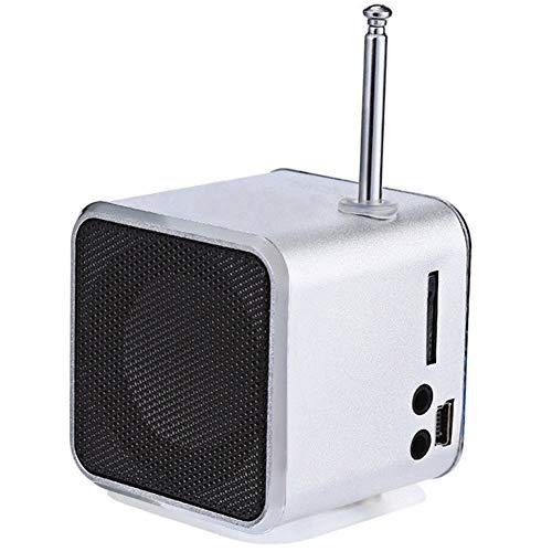 jEZmiSy, Musik Lautsprecher, Zuhause Accessary, Klingen, Mobile Audio, TD-V26 Mini TF-Karte FM-Radio AUX Stereo Spieler - Silber- -