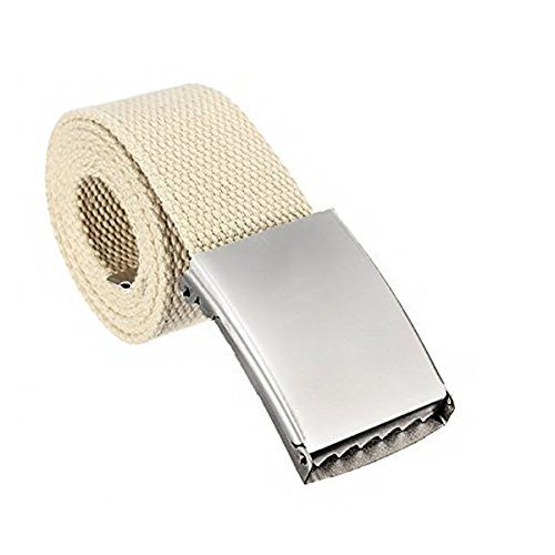 "51"" Unisex Men Women Belts Webbing Cotton Fabric Silver Buckle Fashion Wear UK"