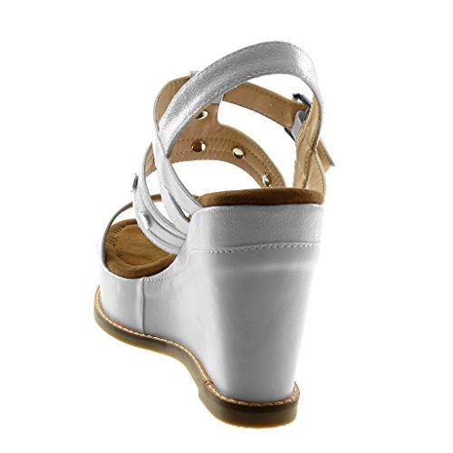 Angkorly Chaussure Mode Sandale Mule BI-Matière Plateforme Lanière Cheville Femme Clouté Brillant Lanière Talon Compensé Plateforme 10.5 cm Blanc