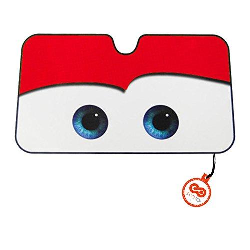(Cars Windschutzscheibe Auto Universal Sonnenschutz Visier Cartoon Augen (Rot))