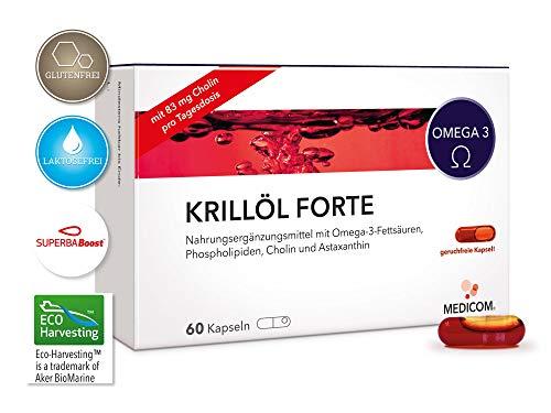 MEDICOM Krillöl Forte - Hochwertiges Krillöl-Konzentrat aus der Antarktis - 120 Kapseln - Natürliche Quelle für Omega-3-Fettsäuren EPA, DHA - Kein Fischgeruch/geschmack - Aus nachhaltiger Fischerei -