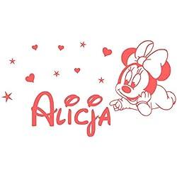 Minnie Mouse Stickers muraux Sticker nom personnalisé fille Vinyle Étoile Cœur Chambre de bébé Des gamins Garderie Autocollants Décor des enfants Art Mural