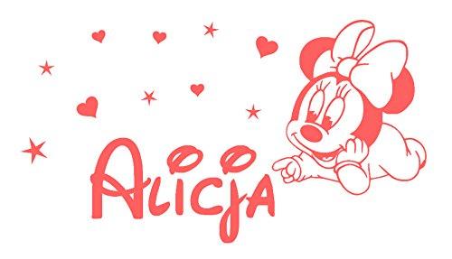 Minnie Mouse pared Calcomanías Nombre personalizado de la niña Vinilo Estrella Corazón Cuarto del bebé Niños Guardería Pegatinas Decoración para niños Art Mural